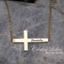 Custom Engraved Cross Necklace -Yellow, White or Rose Gold
