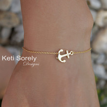 Dainty Sideways Anchor Braceletor Anklet With Cross - 10K, 14K, 18K Solid Gold
