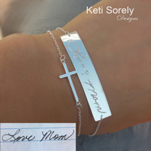 Layered Bar Bracelet with  Sideways Cross  Stacking Bracelet - Handwriting Bracelet - Yellow, Rose or White Gold
