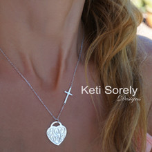 Engraved Heart Monogram Necklace with Celebrity Sideways Cross - Sterling Silver or Solid  Karat Gold
