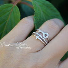 Sale!!! - Silver Stacking Rings Set - Sideways Cross, Key & CZ Ring with Twisted Rope Band