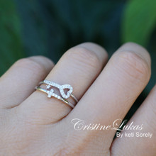 Sterling Silver Stacking Rings Set - Sideways Cross, Key with Cubic Zirconia Stones