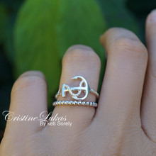 Sideways Anchor Ring  With Stacking Set - Twist Rope Band - Dainty Anchor Ring Set of 2