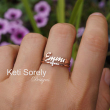 Stacking Rings Set With Personalized Name & Sideways Cross - Choose Your Metal