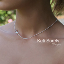 Sideways Infinity Necklace In Sterling Silver or Solid Gold