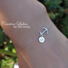 Sideways Anchor Bracelet With Initials Charm in Sterling Silver or Solid Gold