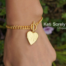 Hand Engraved Swirly Initials Locket Bracelet with Heart Shape - Choose Your Metal