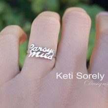 Couples Name Ring - Stacking Name Rings  - Choose Your Metal