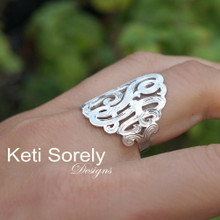 Engraved Large Monogram Initials Ring - Handmade From Sterling Silver or Solid Gold