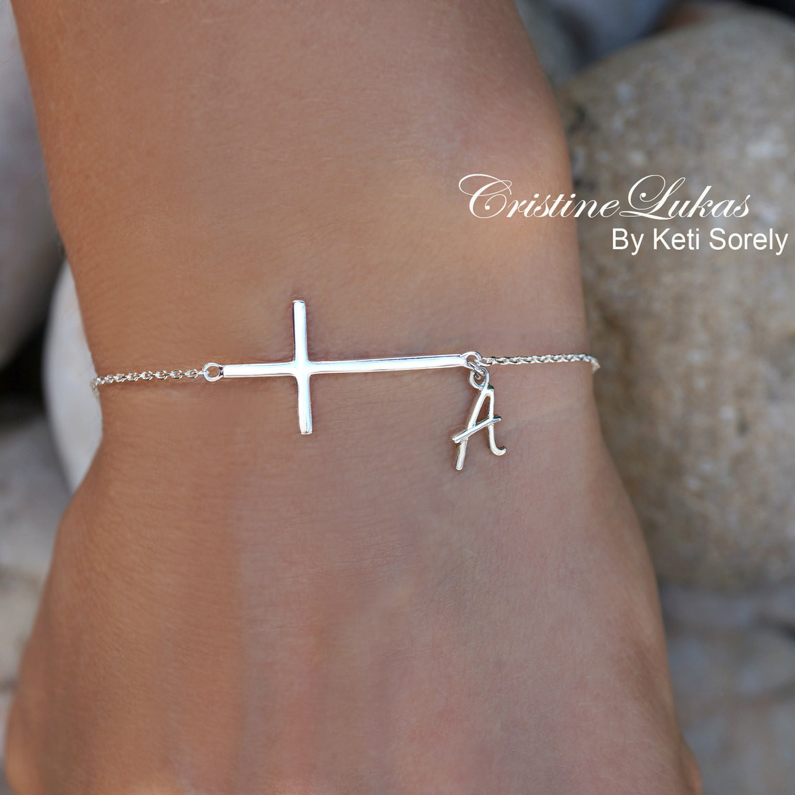 celebrity style sideways cross bracelet with your personalized initial in sterling silver or