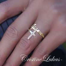 Double Wrap Name Ring with Cross -  Choose Your Metal