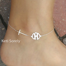 Sideways Cross Bracelet or Anklet with Modern Letter Monogrammed Initials - Choose Your Metal