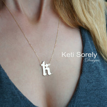 Large Gothic Style Initial Charm Necklace In Sterling Silver or Solid Karat Gold