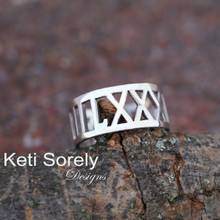 Personalized Date Ring with Roman Numerals - Choose Your Metal