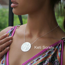 Hand Engraved Monogram Necklace - Sterling Silver Or White Gold