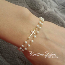 Sideways Cross Bracelet with White Pearls  - Silver, Yellow or Rose Gold