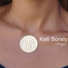 Hand Engraved Disc Necklace with Monogrammed Initials - Choose Your Metal