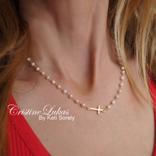 White Pearls Neckalce with Sideways Cross  - Sterling Silver, Yellow or Rose Gold