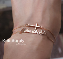 Layered Name or Signature Bracelet or Anklet With Sideways Cross - Choose Your Metal