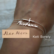 Signature Bracelet or Anklet With Sideways Cross - Choose Your Metal