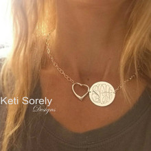 Hand Engraved Monogram Disc with Heart Charm & Large Chain - Choose Your Metal