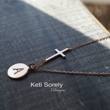 Hand Engraved Modern Initial Disc Necklace with Sideways Cross - Choose Your Metal