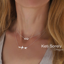 Layered Arrow Heart Beat Necklace with Sideways Initial  - Choose Your metal