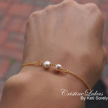 Double Pearl Bracelet in Sterling Silver, Yellow or Rose Gold