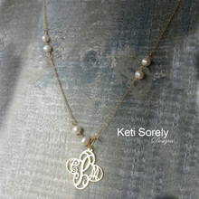 Monogram With Cross Shape & Freshwater Pearls - Choose Your Metal