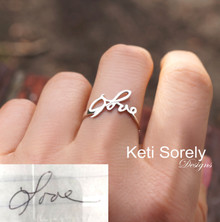 Personalized Handwriting Ring in Sterling Silver or Solid Gold
