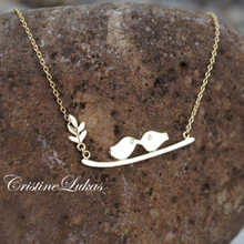 Dainty Love Birds Necklace  with Leafy Branch in Yellow Gold, Rose Gold or White Gold
