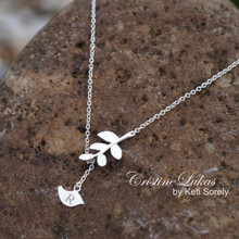 Engraved Bird Neckalce With Tree Branch - Solid Yellow, Rose or White Gold