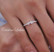 30% off Infinity Ring with CZ Stones - Sterling Silver. Yellow Gold or Rose Gold