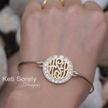 Monogram Initials Bangle with CZ Stones - Choose Your Metal