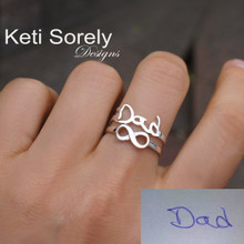 Personalized Handwriting Rings Set With Sideways Infinity - Choose Your Metal