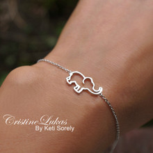 Solid Gold baby Elephant Anklet or Bracelet - White Gold, Yellow Gold or Rose Gold