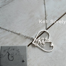 Open Heart Necklace with Handwriting Work or Signature  - Choose Your Metal
