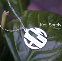 Modern Letter Monogram Necklace -White Gold