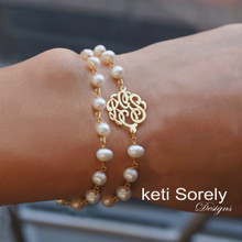 Double Stand Fresh Water Pearl Bracelet with Monogrammed Initials -Choose Metal