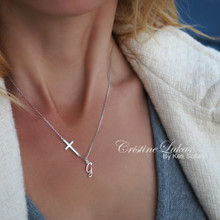 Classic Cross Necklace With Script Initial In Sterling Silver or Solid Gold
