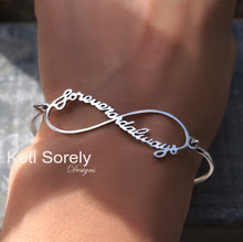 Infinity Bangle Bracelet With Handwritten Message - Choose Your Metal