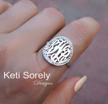 Monogram Initials Ring With CZ Stones - Choose Your Metal
