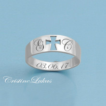 Engraved Unisex Cross Ring with Initials & Date