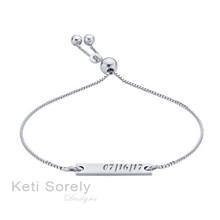 Engraved Bar Bracelet With Adjustable Clasp - Choose Your Metal