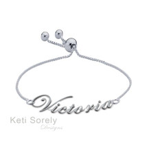 Name Bracelet With Adjustable Clasp - Choose Your Metal