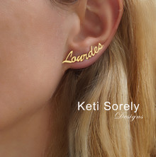 Handmade Name Earrings with Script Font - Choose Your Metal