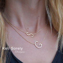 Sideways Single Initial Necklace In Sterling Silver or Solid Karat Gold