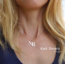 Gothic Style Initials Charm Necklace In Sterling Silver or Solid Karat Gold