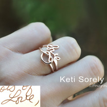 Handwriting Signature Ring Set With Love Knot Infinity - Choose Your Metal