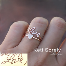 Handwriting Signature Ring Set With Heart - Choose Your Metal